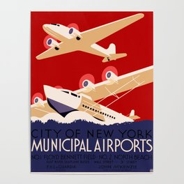 City of New York Airports Travel Poster