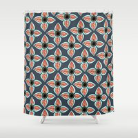 boho Shower Curtains featuring Navy Boho by Allyson Johnson