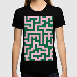 Cotton Candy Pink and Cadmium Green Labyrinth T-shirt