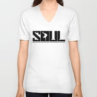 soul V-neck T-shirts featuring SOUL by TurkeysDesign