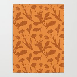 Block Print Marigold Floral in Orange Poster