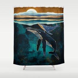 Moonlit Whales Shower Curtain