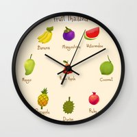 thailand Wall Clocks featuring Fruit Thailand by paradon samapetch