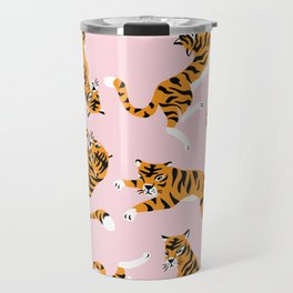 Cute tiger in the tropical forest hand drawn on pink background illustration Travel Mug