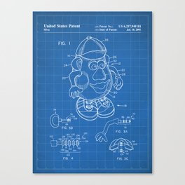 Mr Potato Head Patent - Potato Head Art - Blueprint Canvas Print