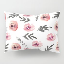 Pink flowers and black branches. Watercolor Pillow Sham