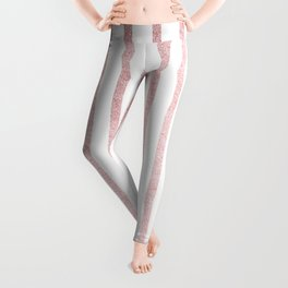 Simply Drawn Vertical Stripes in Rose Gold Sunset Leggings