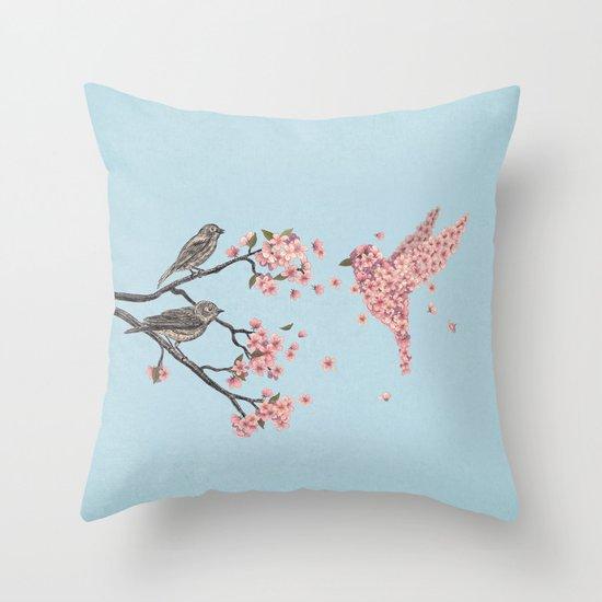 Terry Bird Decorative Pillow : Blossom Bird Throw Pillow by Terry Fan Society6