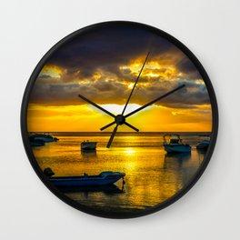 Golden Sunset in Mauritius Wall Clock