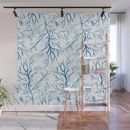 Coral Leaf Blue Wall Mural
