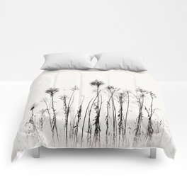 Dried Tall Plants and Flying White Birds Comforters