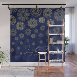 Let it snow, gold lace snowflakes in the night sky Wall Mural