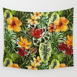 Tropical Vintage Exotic Jungle Flower Flowers - Floral watercolor pattern Wall Tapestry