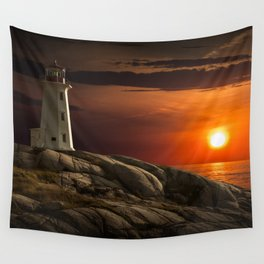Lighthouse at Sunset in the Peggy's Cove Wall Tapestry