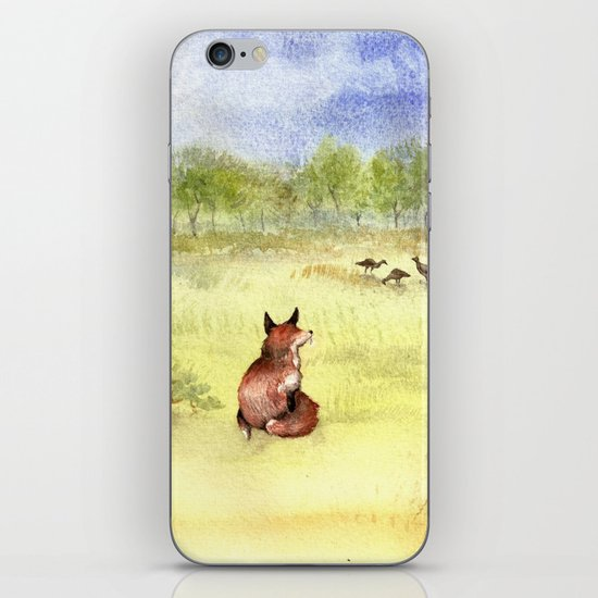 Red Fox Watching Wild Turkeys - Watercolor iPhone Skin