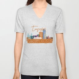 Cool Tucson skyline design Unisex V-Neck