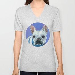French Bulldog Portrait Painting Unisex V-Neck
