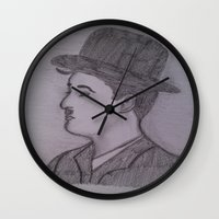charlie chaplin Wall Clocks featuring Charlie Chaplin by Natasha Lake
