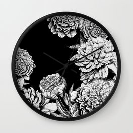 FLOWERS IN BLACK AND WHITE Wall Clock