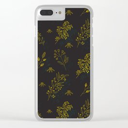 Thin delicate lines silhouettes of different plants. Clear iPhone Case