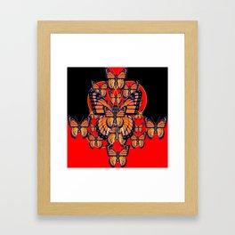 ABSTRACT BLACK-RED MONARCH BUTTERFLIES ART Framed Art Print