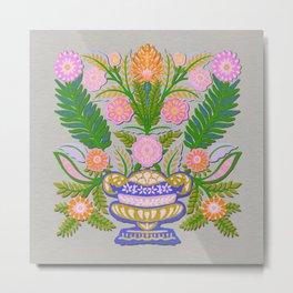 Folk Flowers Vase 1 Metal Print