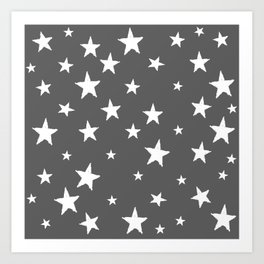 Hand-Drawn Stars (White & Grey Pattern) Art Print