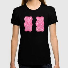 Jelly Beans & Gummy Bears Pattern - Pink and Black T-shirt