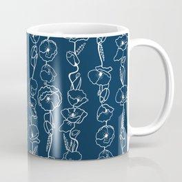 poppy vines on navy Coffee Mug