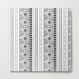 White Mudcloth Metal Print