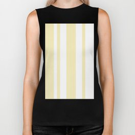 Mixed Vertical Stripes - White and Blond Yellow Biker Tank