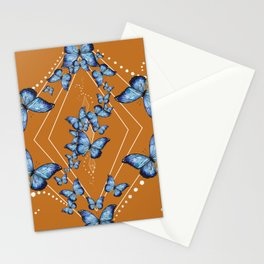Insecta Pattern - Blue Morpho (Camel) Stationery Cards