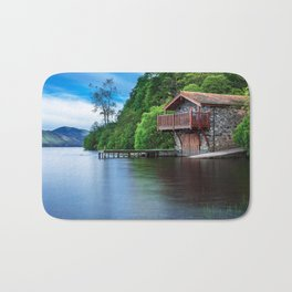 Smooth as Glass Lake and Boathouse Bath Mat