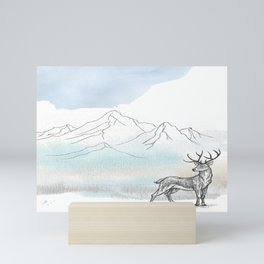The Stag at the foot of the mountain Mini Art Print