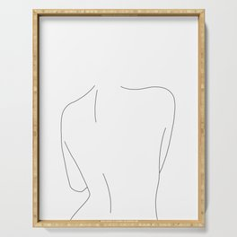 Nude back line drawing illustration - Drew Serving Tray