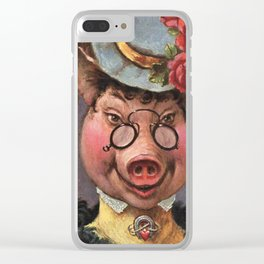 Funny Countess Pig Vintage Victorian Painting Clear iPhone Case