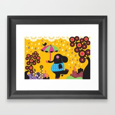 Elephant dancing in the rain Framed Art Print