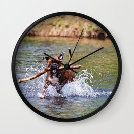 Bailey Plays in the River Wall Clock