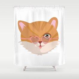 Cat Lover Kitten Summer Sunglasses Feline Gift Shower Curtain