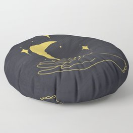 Hands Holding Crescent Moon And Stars, Boho Ethnic Mystical Vector Illustration Floor Pillow