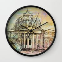 roman Wall Clocks featuring Ateneul Roman by Nechifor Ionut