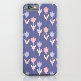 Modern hand painted pink lavender violet tulip floral iPhone Case