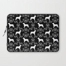 English Springer Spaniel dog breed black and white floral pet portraits dog silhouette dog pattern Laptop Sleeve