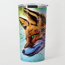 Night of the Fox Portrait Painting by Jeanpaul Ferro Travel Mug