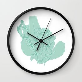 Bunch of Green Leaves Illustration Wall Clock