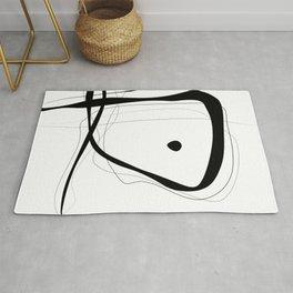 Black & White Minimalist line drawing -1, Square fine art 40x40 simple art print, Rug