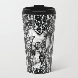 Rose skull on black lace base. Travel Mug