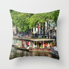 Amsterdam Houseboat on Canal Throw Pillow
