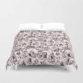 Alice in Wonderland | Toile de Jouy | Brown and Pink Duvet Cover