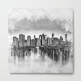New York City Manhattan Skyline- black and white Metal Print